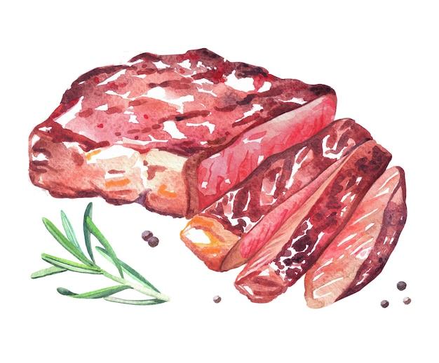 로즈마리를 곁들인 구운 쇠고기 스테이크. 수채화 손으로 그린 그림 흰색 배경에 고립.