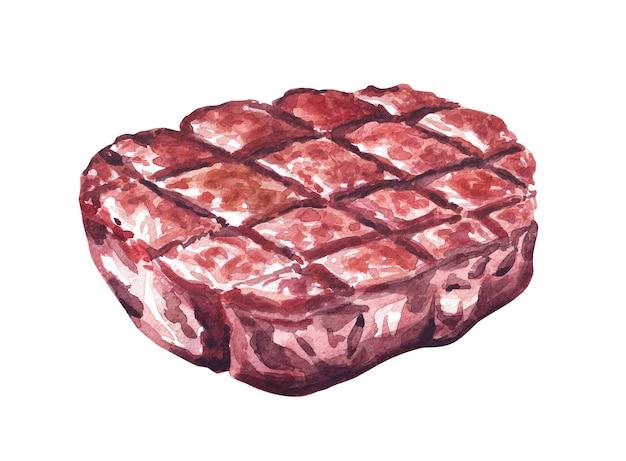구운 쇠고기 스테이크. 수채화 손으로 그린 그림, 흰색 배경에 고립