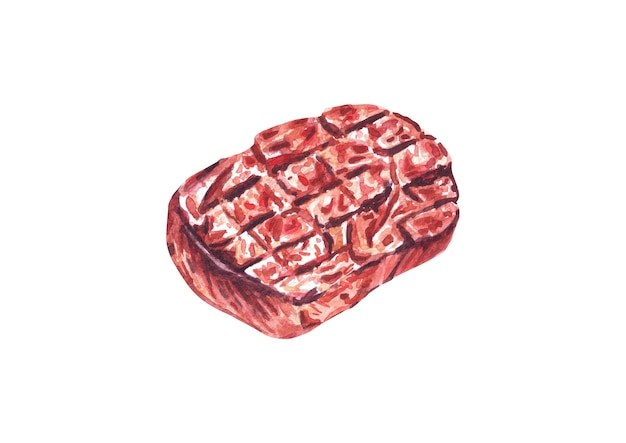 Grilled beef steaks. watercolor hand drawn illustration, isolated on white background