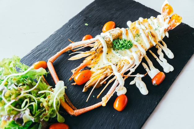 Grilled big prawn or shrimp with sauce