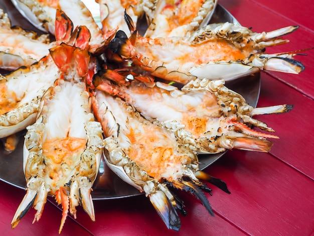Grilled big tiger shrimps prawns on plate.