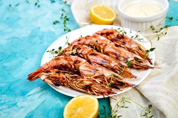 Grilled big tiger shrimps