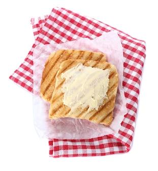 버터와 구운 빵, 흰색, 평면도에 고립