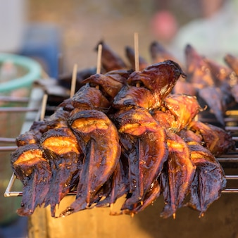 Grilled catfish on the grill in market