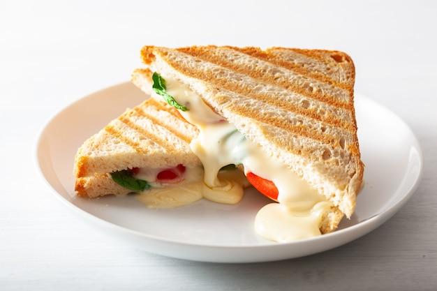 Жареный сэндвич с сыром и помидорами на белом фоне