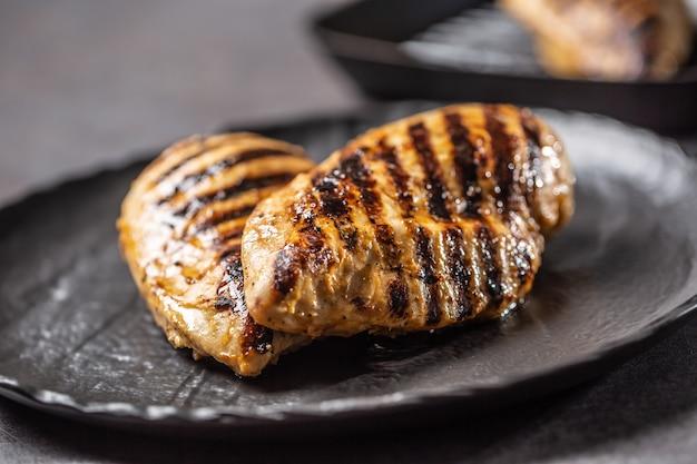 Жареная куриная грудка в черной тарелке на кухонном столе.