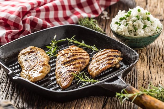 Жареная куриная грудка на сковороде с рисом и зеленым горошком.