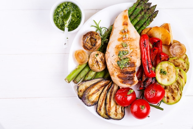 Grilled chicken breast on a plate with grill vegetables on plate, flat lay