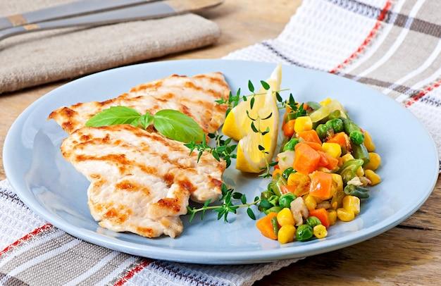 Жареные куриные грудки и овощи