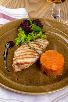 Grilled chicken fillet on plate