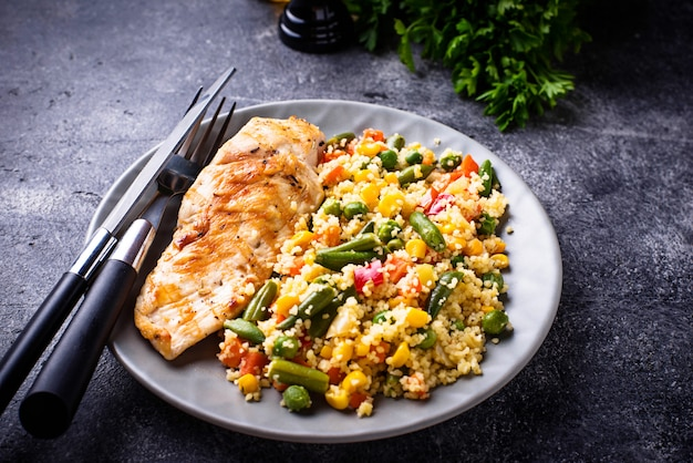 Grilled chicken fillet with vegetables