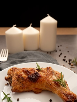 Grilled chicken legs with spices food