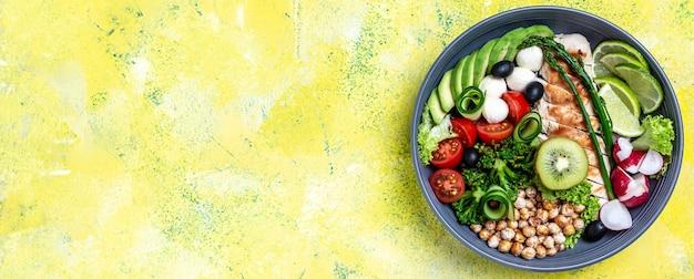 グリルした鶏肉と黄色の背景に新鮮な野菜のサラダ。健康的でデトックス食品のコンセプト。ケトジェニックダイエット。ブッダボウル皿、長いバナー形式、上面図、