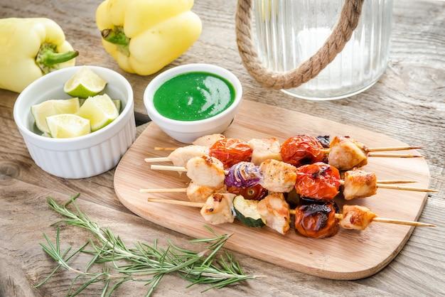 ズッキーニとチェリートマトのグリルチキン串