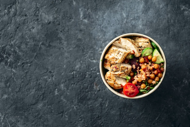 Grilled chicken steak with spicy chickpeas, quinoa and baked beetroot