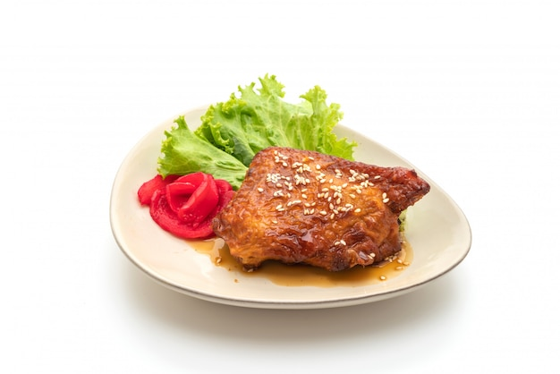 Grilled chicken steak with teriyaki sauce