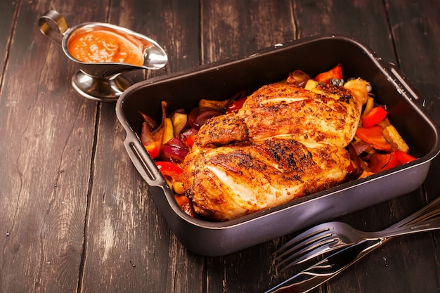 Grilled chicken with baked vegetables