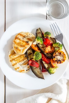 Grilled chicken with grilled vegetables