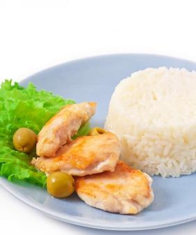 쌀과 닭고기 구이