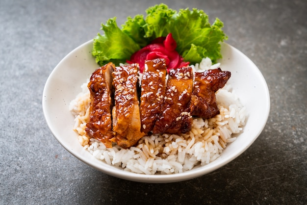 鶏肉の照り焼きソースかけご飯