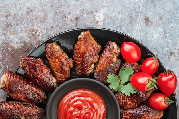 Grilled chicken with tomato sauce and coriander leaf