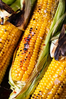 Grilled corn on the cob with salt