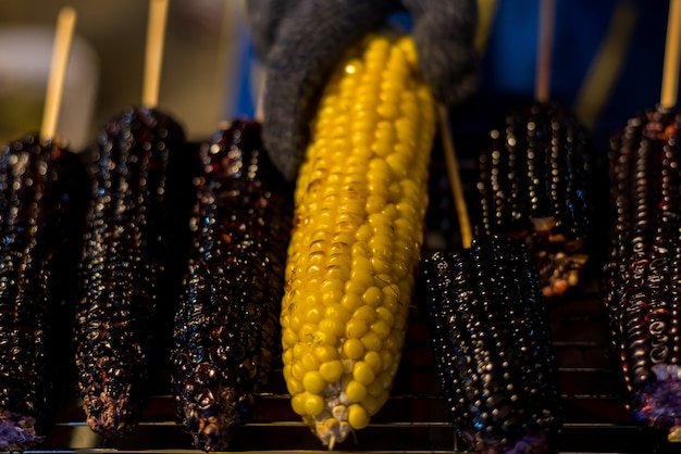 Grilled corn and purple corn at thai street food