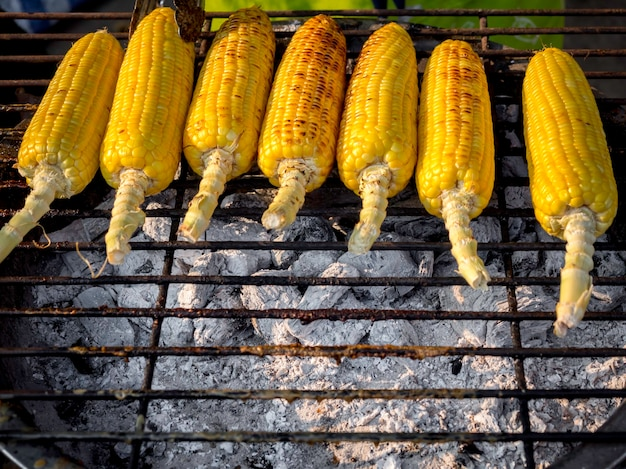Grilled corns on the grill, street food ready to serve. grilled vegetables, vegetarian food, bbq corn.
