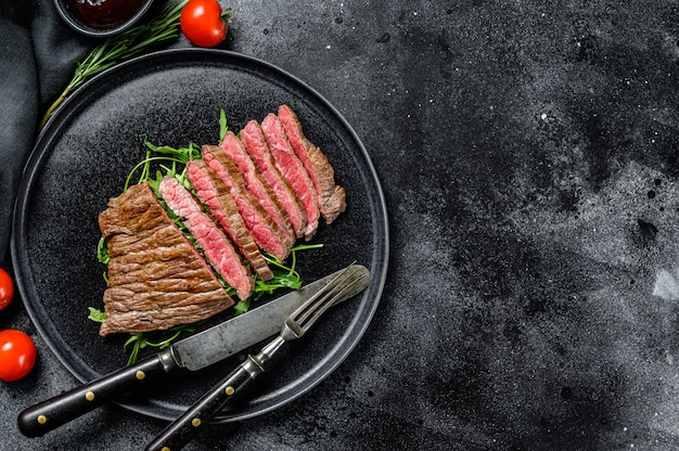 Grilled and cut flat iron steak