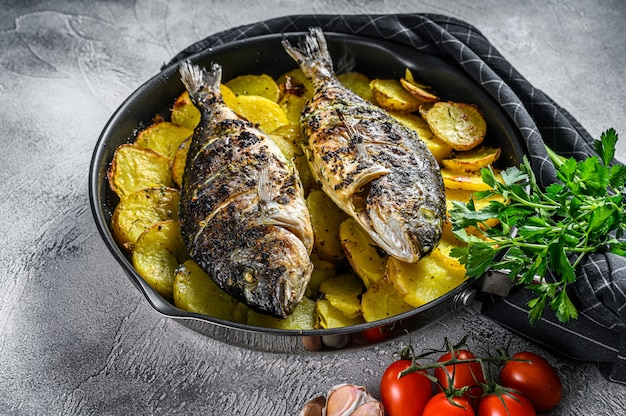 Grilled dorado fish with potatoes in a pan. top view