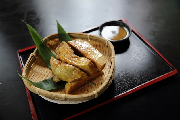 Grilled eggplant with miso dip japanese food