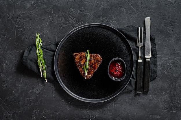 Grilled filet mignon steak. beef tenderloin.