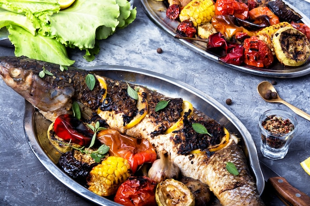 Grilled fish in a tray