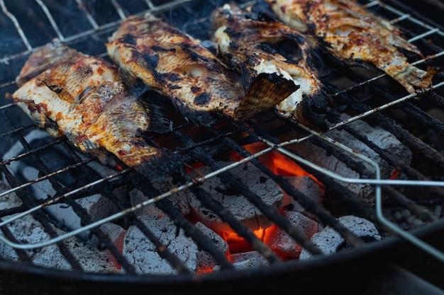 Рыба на гриле с горячими угольными брикетами