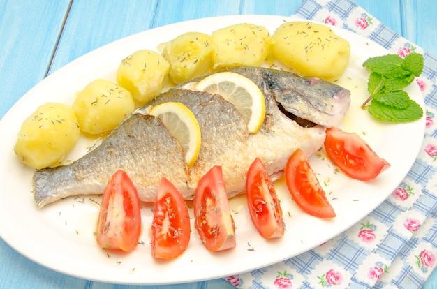 Жареная рыба с картофелем и помидорами