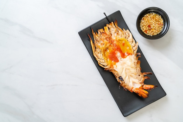 Grilled fresh giant river prawn with spicy seafood dipping sauce