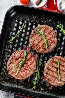 Grilled ground beef patties top view