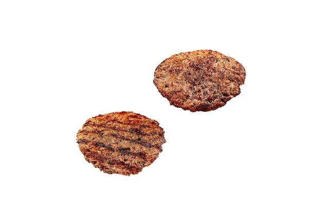Жареный гамбургер котлета, изолированные на белом