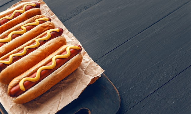 Grilled hot dogs with american mustard