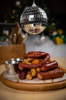 Grilled hunting sausages. until the new year and christmas