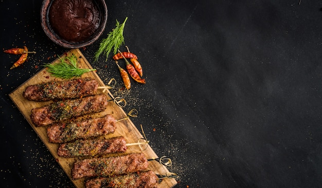 Grilled kebab with spices