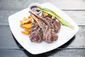 Grilled lamb chop steak