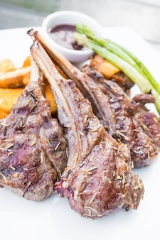 Grilled lamb chop steak