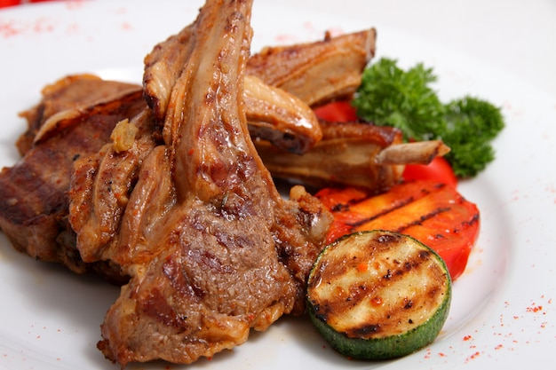 Grilled lamb with grilled vegetables