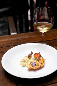 Grilled lobster tail with white wine
