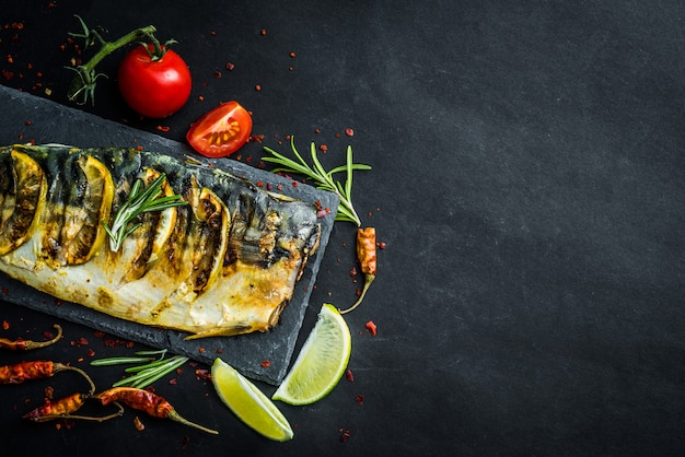 Grilled mackrel fillets