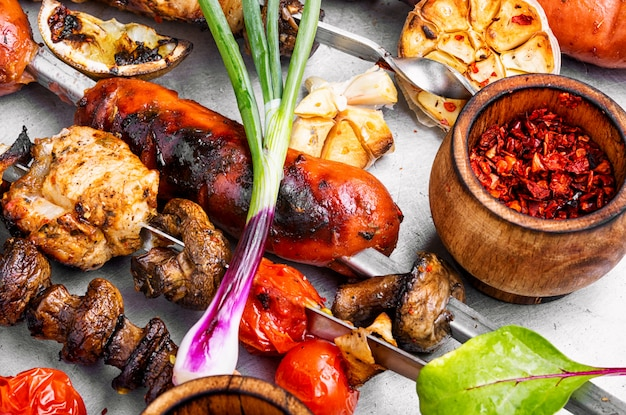 Grilled meat dishes
