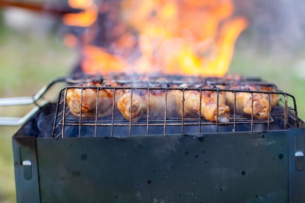 불과 석탄으로 바베큐에 구운 고기. 자연에서 튀기십시오. 삼