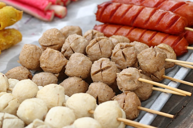 Grilled meatballs and sausage
