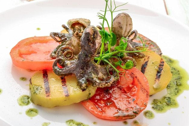 Grilled octopus on a plate.,grilled octopus with grilled vegetables
